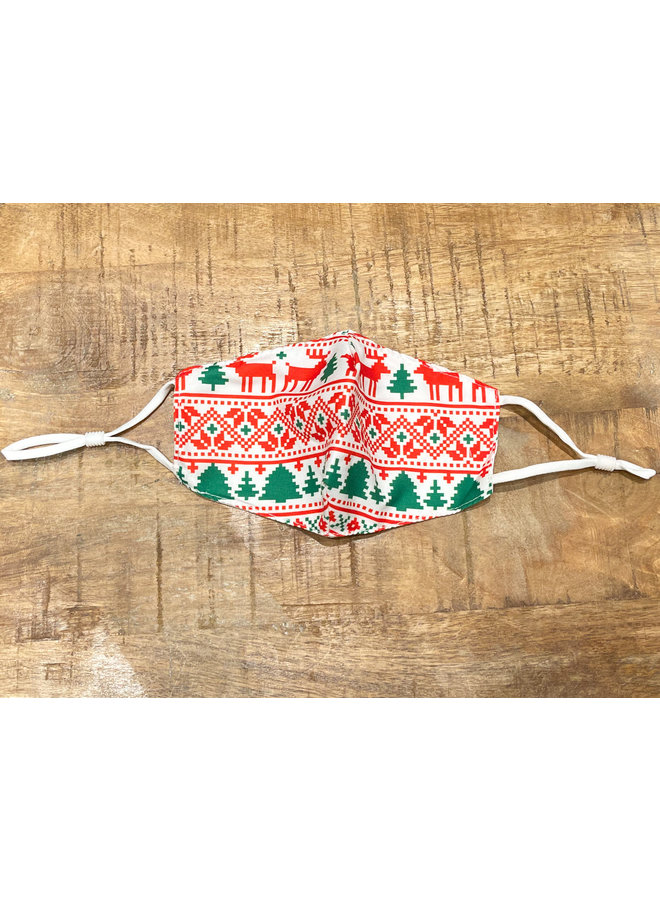KIDS FACE MASK-CHRISTMAS SWEATER RED/GREEN