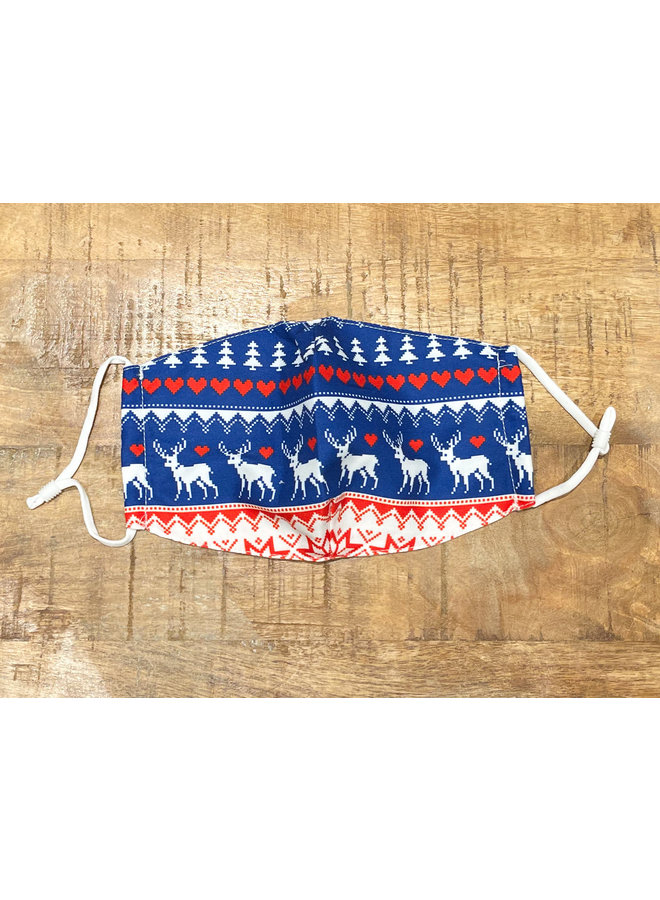 ADULT FACE MASK- CHRISTMAS SWEATER RED/BLUE