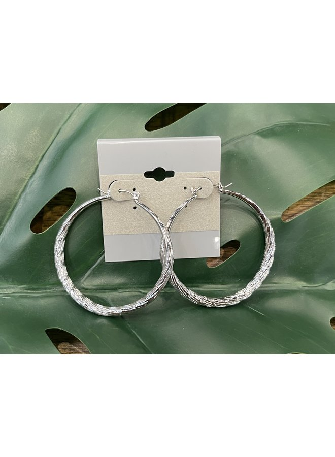TEXTURED  HOOP EARRINGS-SILVER