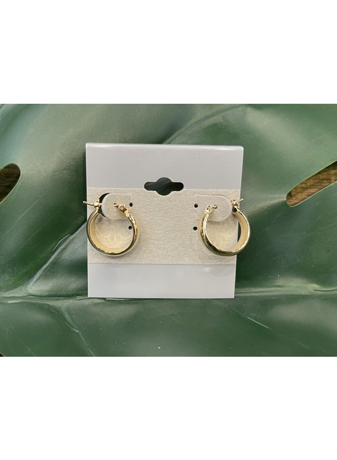 SMALL THICK HOOP EARRINGS-GOLD