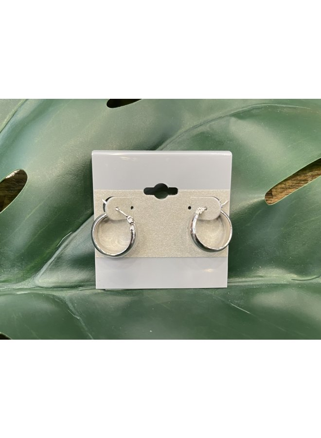 SMALL THICK HOOP EARRINGS-SILVER