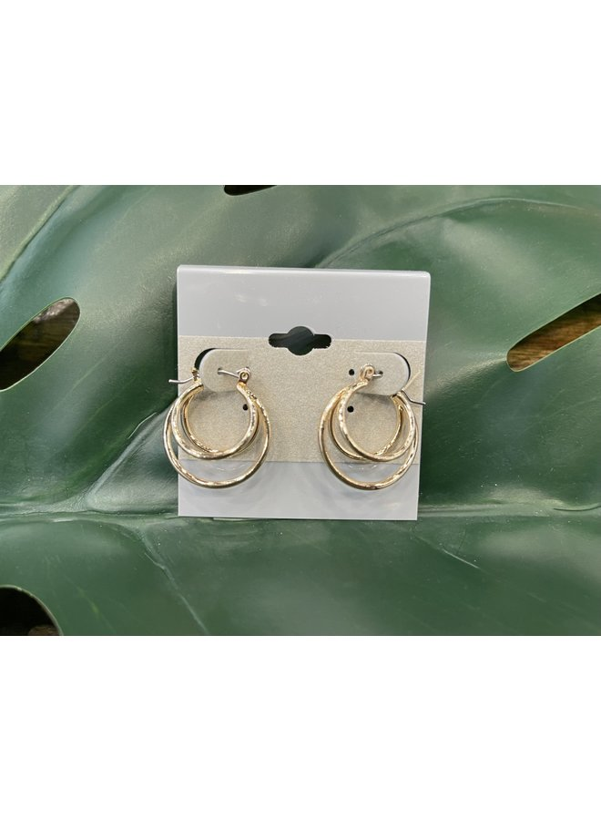 LAYERED HOOP EARRINGS-GOLD