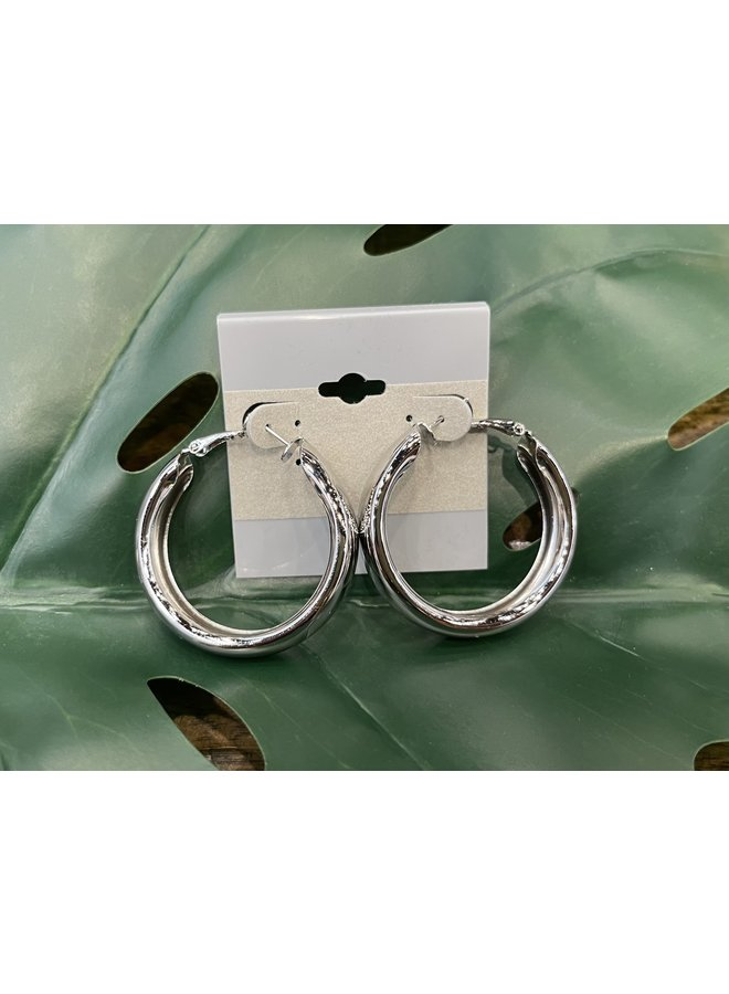 LARGE THICK HOOP EARRINGS-SILVER