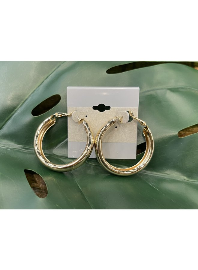 LARGE THICK HOOP EARRINGS-GOLD