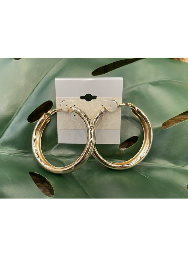 EXTRA LARGE THICK HOOP EARRINGS-GOLD