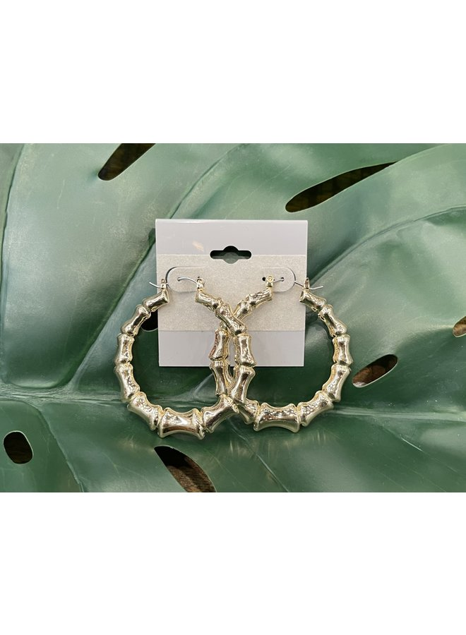 LARGE BAMBOO HOOP EARRINGS-GOLD