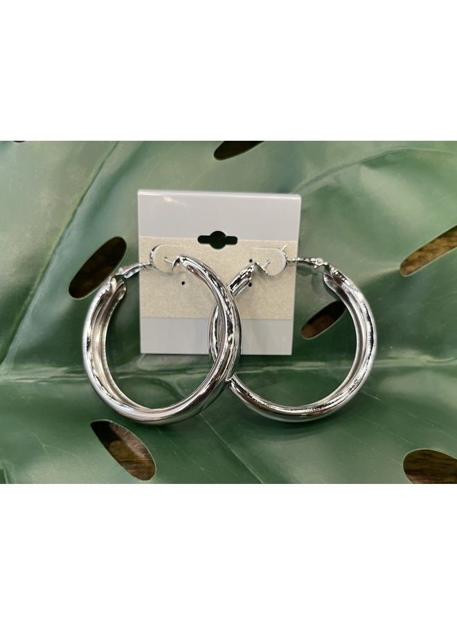 EXTRA LARGE THICK HOOP EARRINGS-SILVER