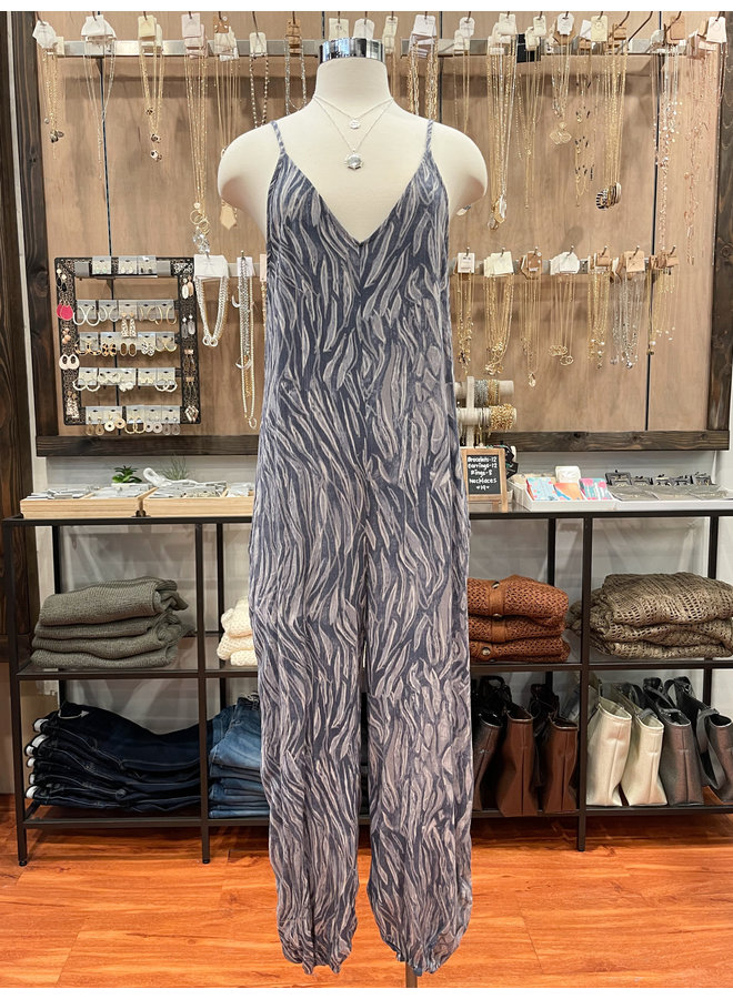 ABSTRACT GAUZE JUMPSUIT