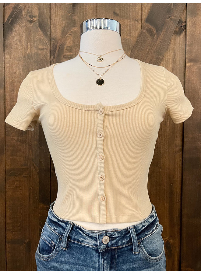 YTA825A  RIBBED BUTTON CROP TOP