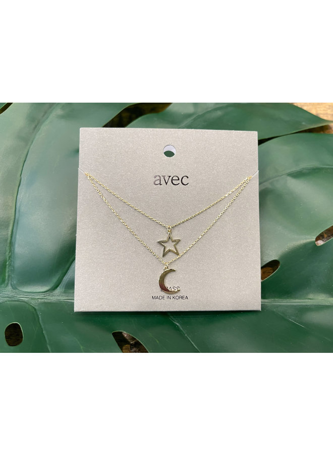 MOON AND STAR NECKLACE-GOLD
