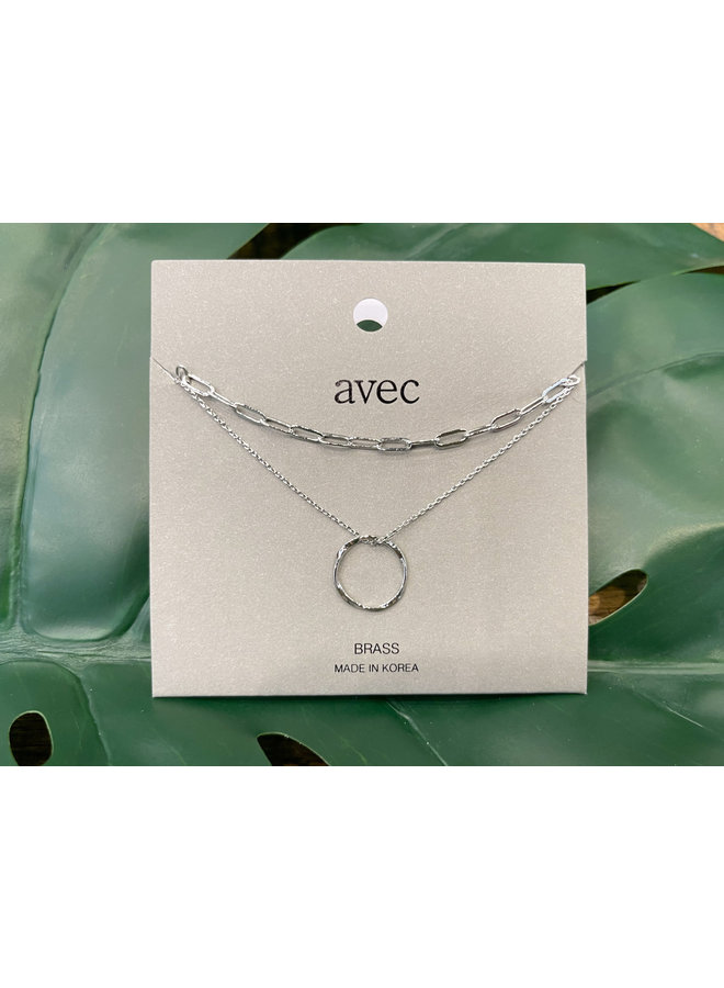 LAYERED TWISTED CIRCLE NECKLACE-SILVER
