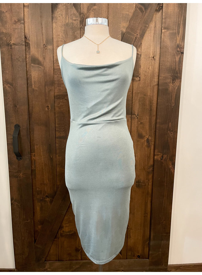D40160A DOUBLE LAYERED COWL NECK CAMI DRESS