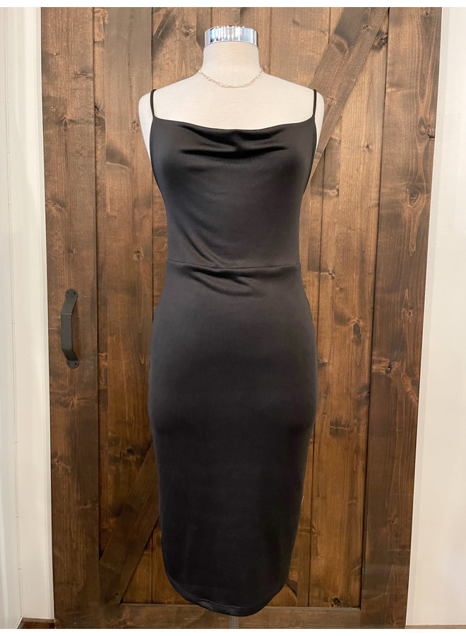 DOUBLE LAYERED COWL NECK CAMI DRESS *3 colors available*