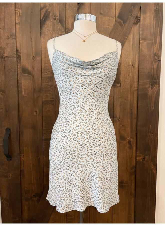 D6251U FLORAL COWEL NECK DRESS
