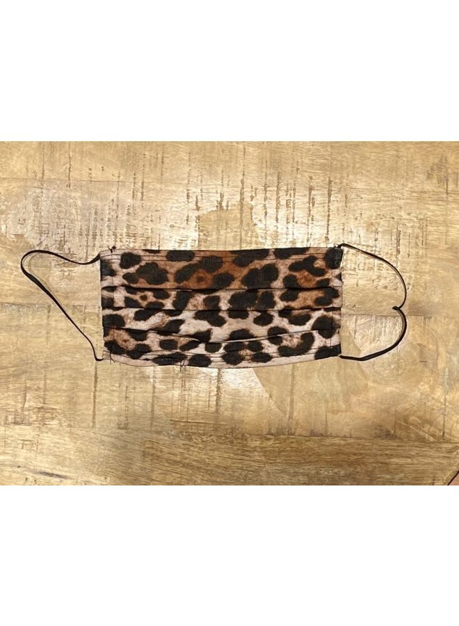 ADULT FACE MASK- PLEATED LEOPARD