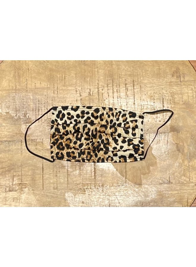 ADULT FACE MASK- PLEATED CHEETAH