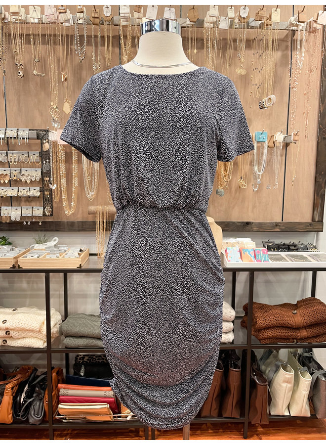 MICRO DOT SIDE RUCHED DRESS