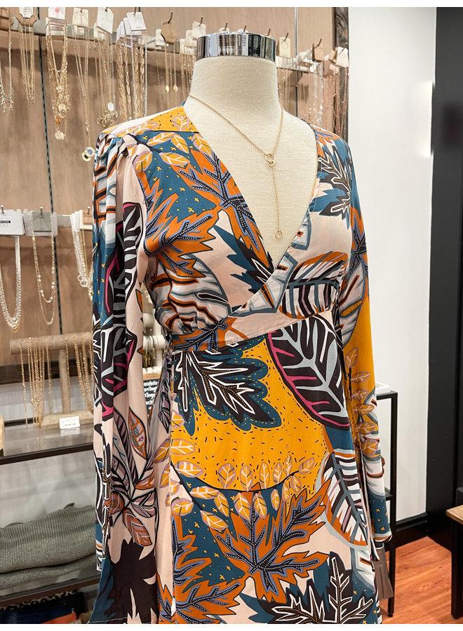 2100-327LDH TROPICAL WRAP DRESS