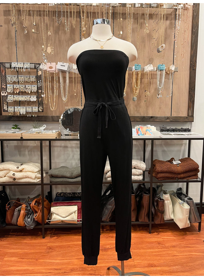 STRAPLESS DRAWSTRING JUMPSUIT *2 colors available*