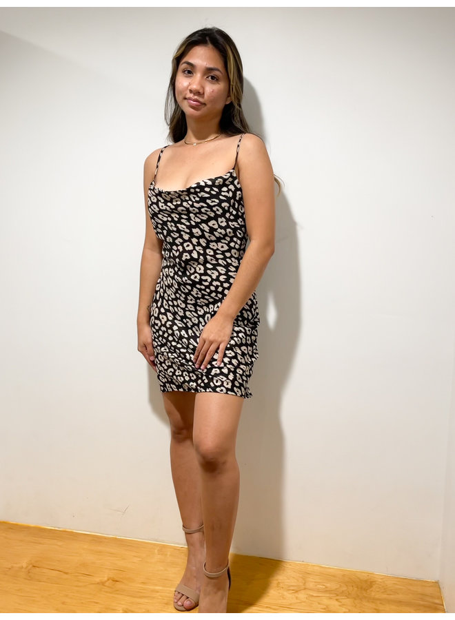 D6251T ANIMAL COWL NECK DRESS