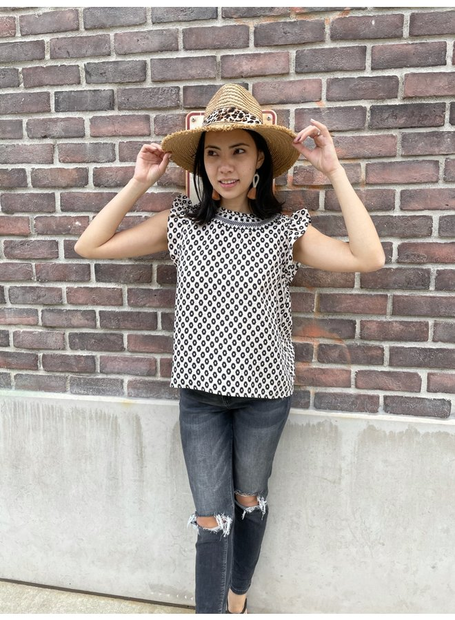 FTM1794 SPOTTED PRINT TOP