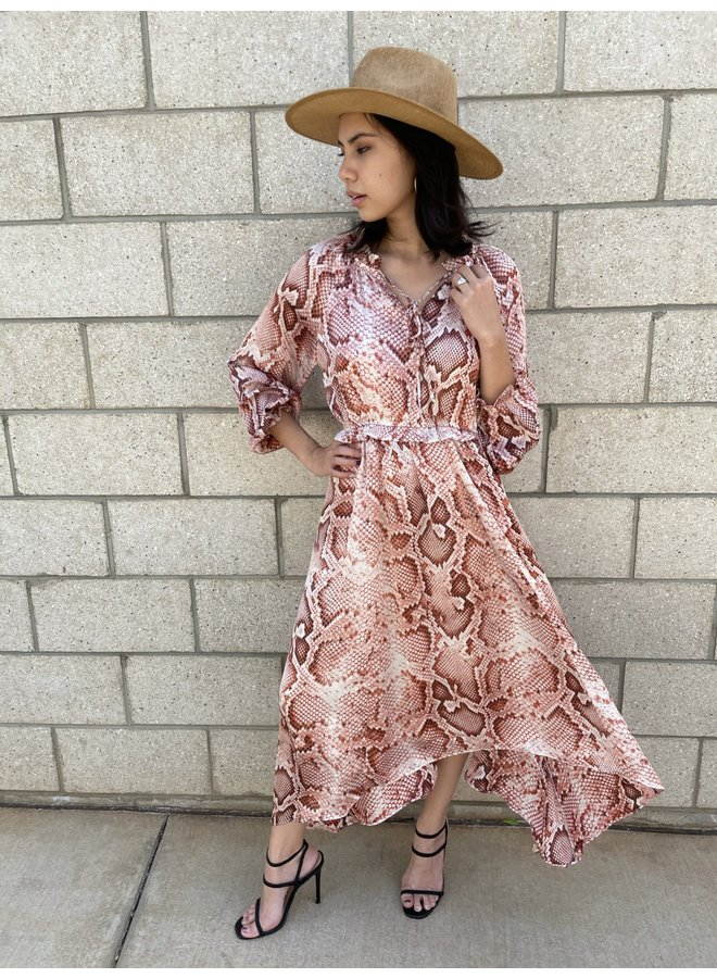 WCT613 SNAKE LONG SLEEVE DRESS