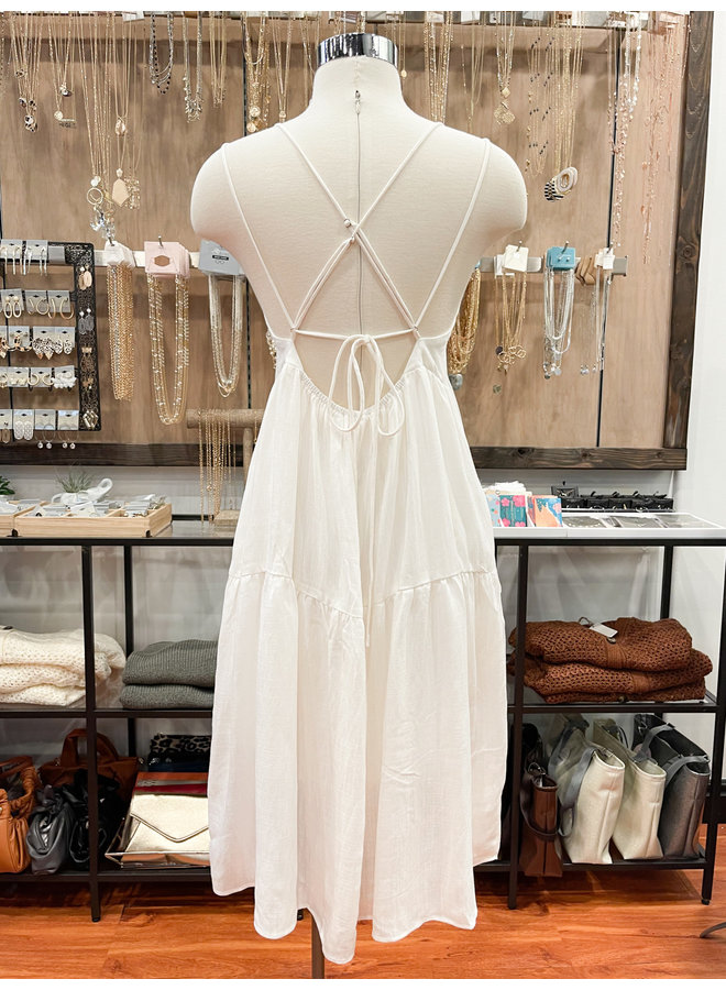 ID30400 SOLID TIERED DRESS
