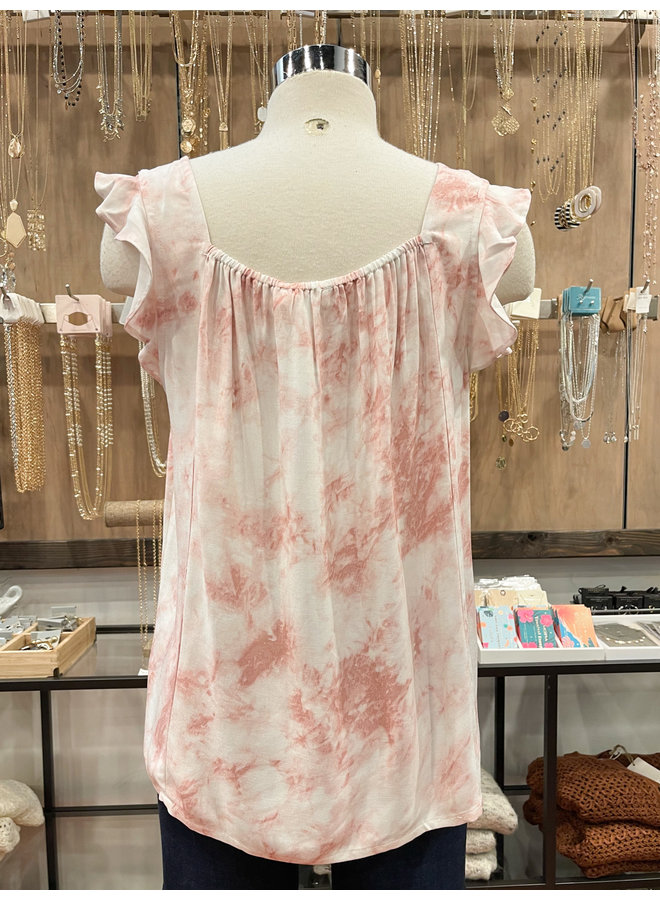 IT31027 TIE DYE SMOCKED TOP