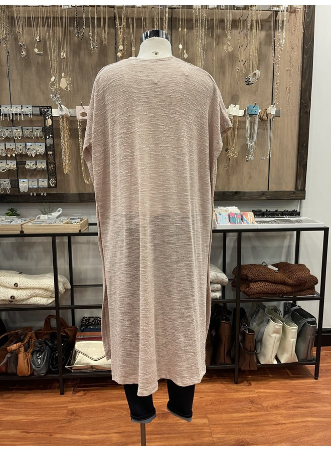 C30315 SHEER KNIT DUSTER CARDIGAN