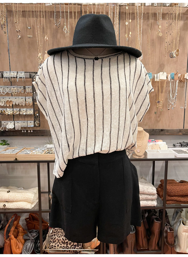 T30077A STRIPED OVERSIZED TOP