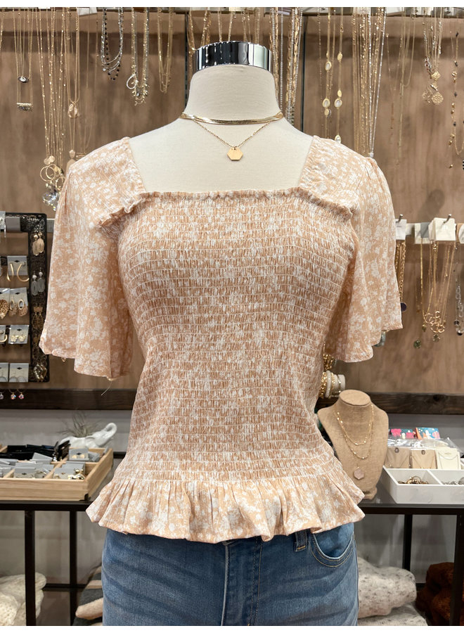 FLORAL SMOCKED TOP *2 colors available*