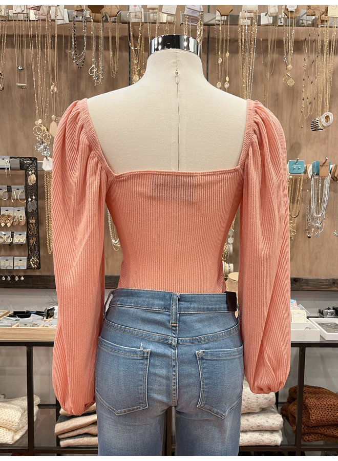 TA1205 RIBBED LACE TOP