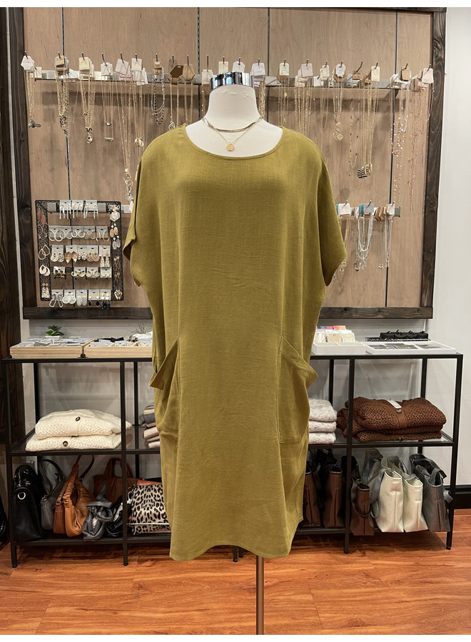 LINEN BLEND TUNIC DRESS *2 colors available*