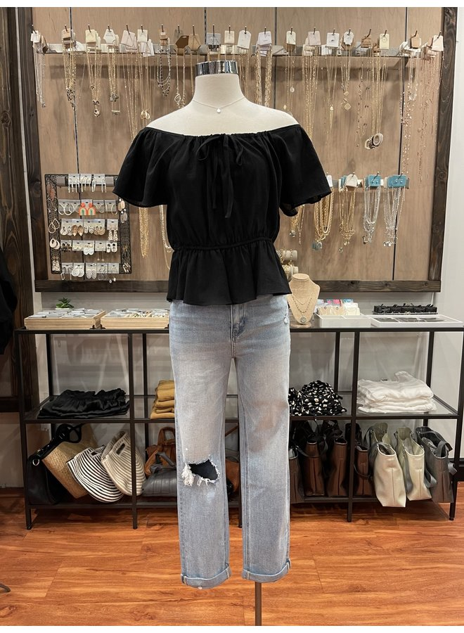 FLARE SLEEVE COTTON BLOUSE *2 colors available*