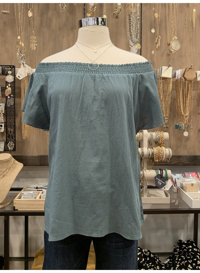 SMOCKED NECKLINE COTTON BLOUSE *2 colors available*