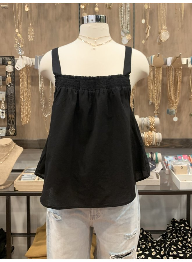 SMOCKED NECKLINE TANK *2 colors available*