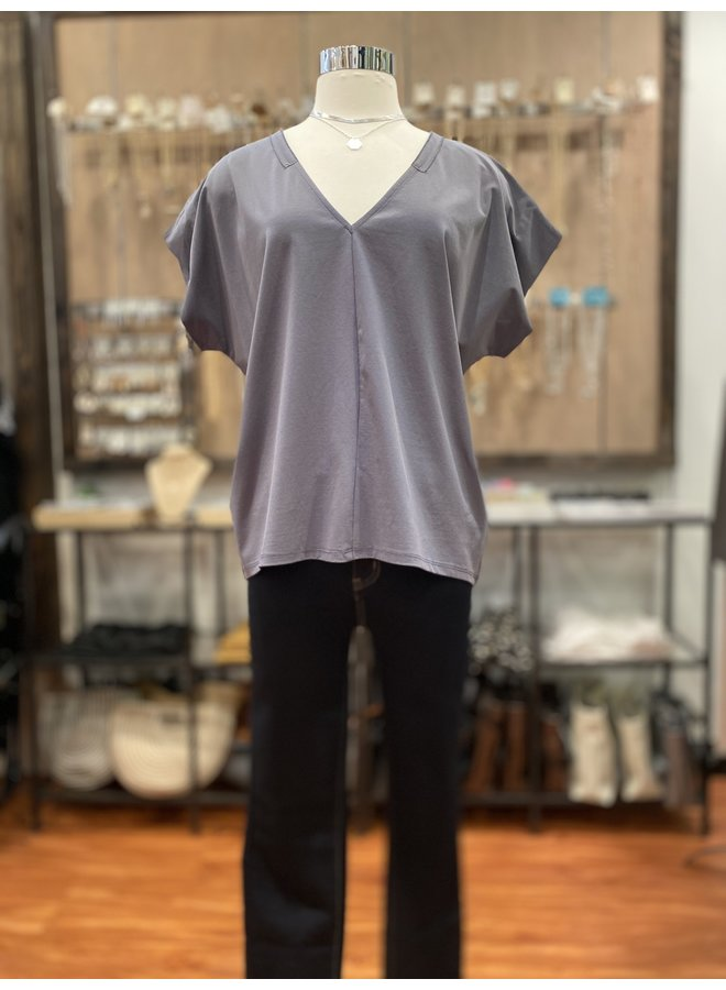 V-NECK TRIM TEE *2 colors available*