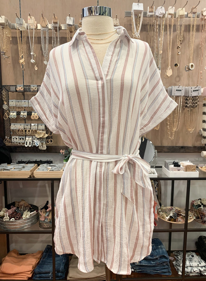 SD510818 STRIPED SHIRT DRESS