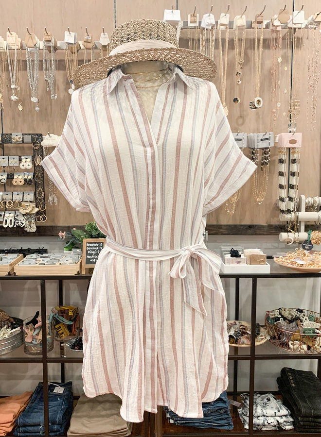 STRIPED SHIRT DRESS *2 colors available*