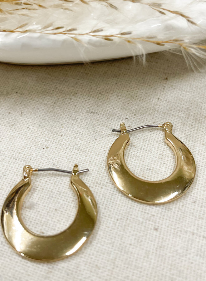 FLAT HOOP EARRINGS-GOLD