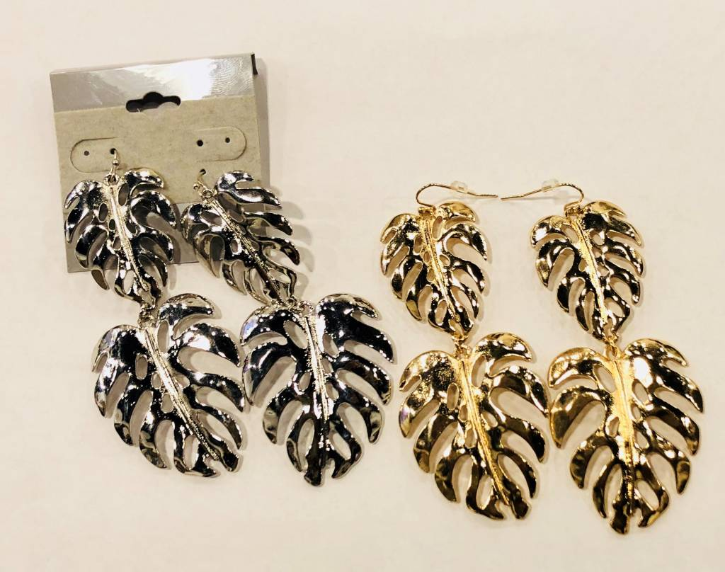 Double Monstera Earrings