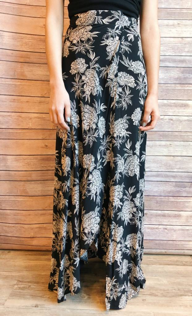 Black Tulip Skirt with Taupe Flowers