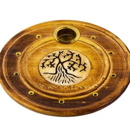 Wood Round Cone/Stick Holder Tree of Life