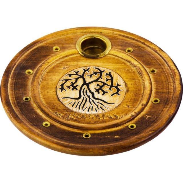 Wood Round Cone/Stick Holder Tree of Life