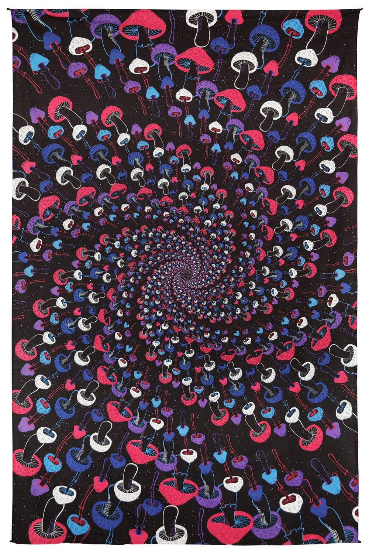 SJ 3D GLOW Tapestry Shroom Spiral