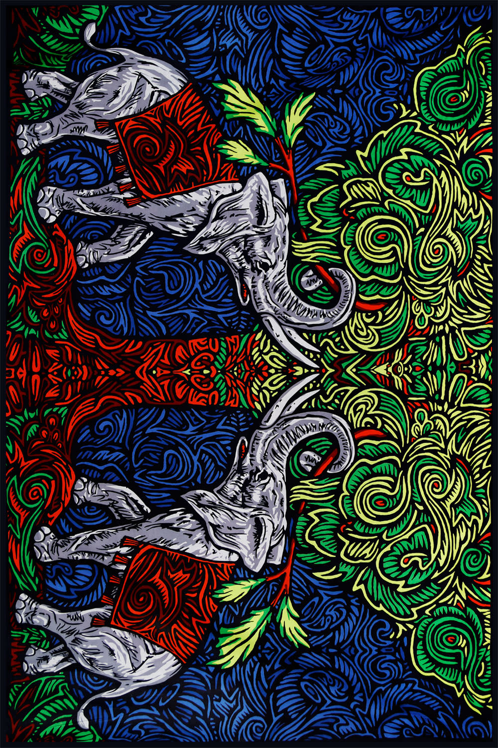 SJ 3D Tapestry Elephant Tree