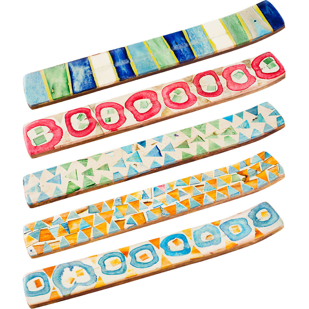 Bone Mosaic & Wood Incense Holder Vibrant