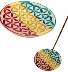 Soapstone Round Incense Holder Flower of Life