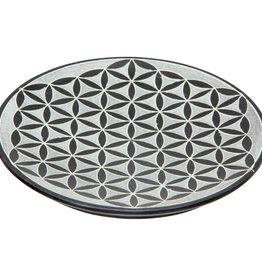 Soapstone Round Incense Holder Flower of Life Blk