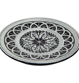 Soapstone Round Incense Holder Mandala Blk